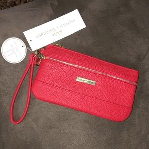 Adrienne Vittadini Studio Red Wristlet Bag